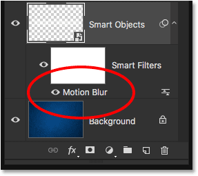 The Layers panel showing the new Motion Blur Smart Filter.