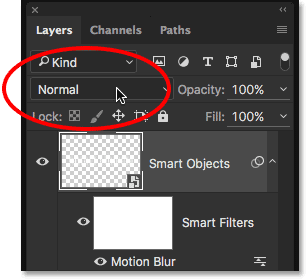 Returning the Smart Object's blend mode to Normal.