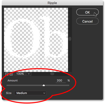 The Ripple filter dialog box.