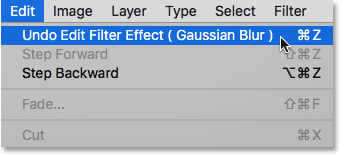 Choosing the Undo Edit Filter Effect (Gaussian Blur) option under the Edit menu.