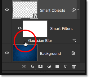 Turning the Gaussian Blur Smart Filter back on in the document.