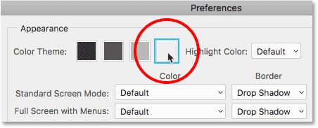 Choosing the lightest color theme in Photoshop CC.