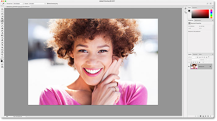 The lightest of the four interface color themes in Photoshop CC.