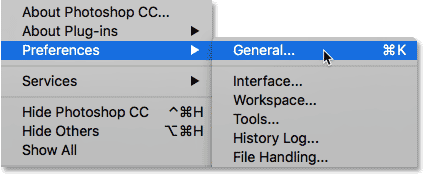 Opening the Photoshop Preferences.