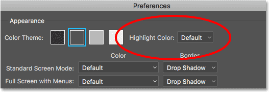 The Highlight Color option in the Interface preferences in Photoshop CC.