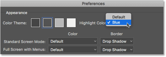 Changing the Highlight Color from Default to Blue.