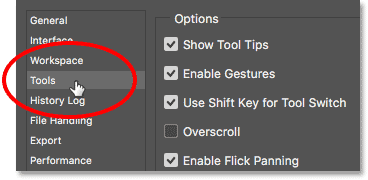 Opening the Tools preferences in Photoshop.