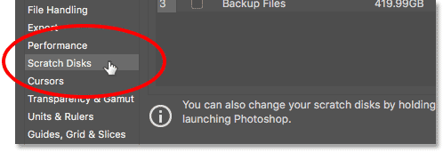 Opening the Scratch Disks preferences in Photoshop.