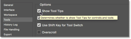 A Tool Tip explaining an option in Photoshop.