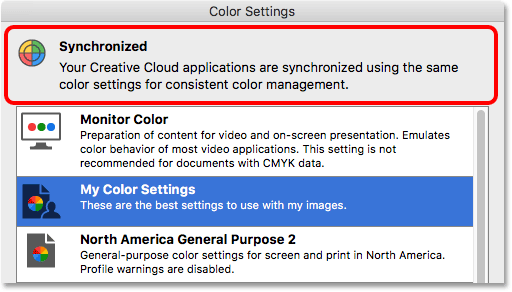 My custom color settings have been synchronized with the entire Creative Suite.