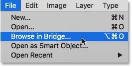 Opening Adobe Bridge from Photoshop.
