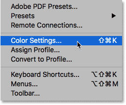 Opening the Photoshop Color Settings from under the Edit menu.
