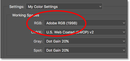The Color Settings dialog box showing Adobe RGB as the RGB working space.