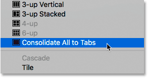 The Consolidate All to Tabs option in Photoshop.