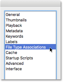 Choosing File Type Associations in the Adobe Bridge Preferences.