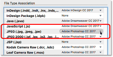 The JPEG settings in the File Type Associations in Adobe Bridge.
