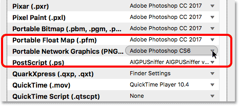 Bridge is set to open PNG files in Photoshop CS6.