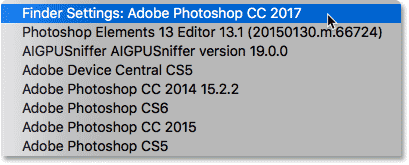 Setting Photoshop CC 2017 as the new app for opening PNG files.