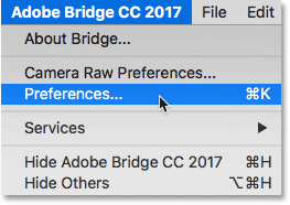 Opening the Adobe Bridge Preferences.