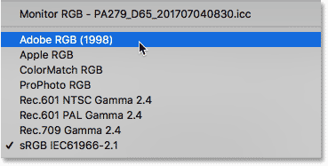 Choosing the Adobe RGB color space in the Color Settings dialog box.