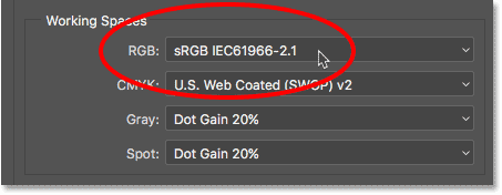 Clicking on the current RGB working space in Photoshop.