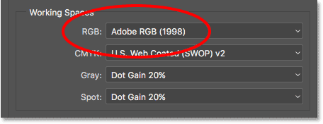 The RGB working space in Photoshop has been changed to Adobe RGB.