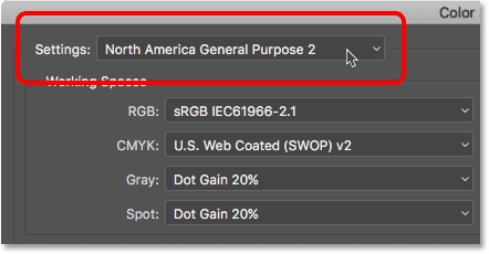 The North America General Purpose 2 color settings preset in Photoshop.