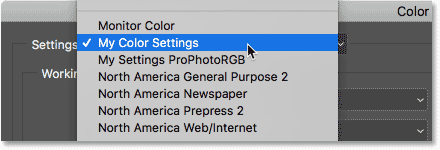 Selecting my new custom color settings from the list of presets.