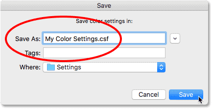Naming the new color settings.