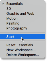 Switching from Essentials back to the Start workspace. Image © 2016 Steve Patterson, Photoshop Essentials.com