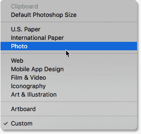 Selecting the Photo category.