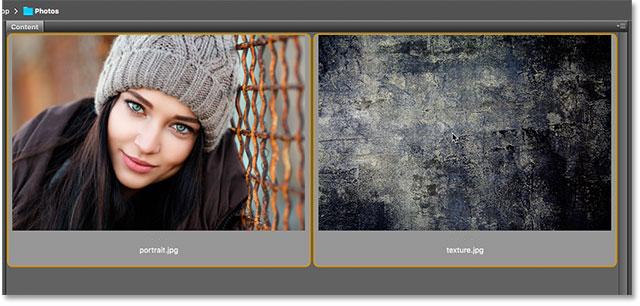 Seleccionando y abriendo dos fotos en Photoshop desde Adobe Bridge.