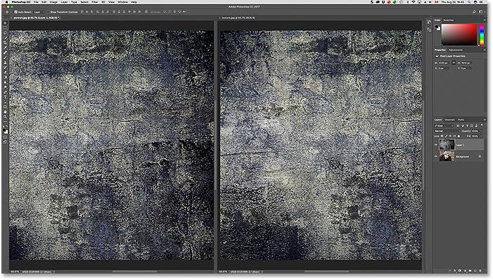 Arrastrando la imagen de la textura en la ventana del otro documento.