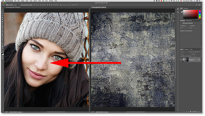 Dragging the texture image into the other document window.