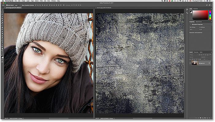 La disposición del documento 2-up Vertical en Photoshop.
