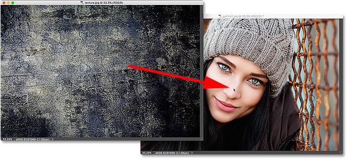 Arrastrar una imagen entre ventanas flotantes en Photoshop.