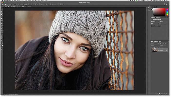 La primera de las dos fotos abiertas en Photoshop. Imagen con licencia de Adobe Stock.