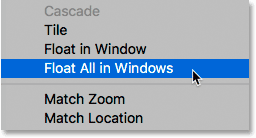 Choosing the Float All in Windows command in Photoshop.
