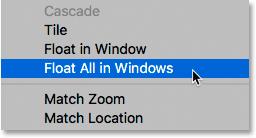 Choisir la commande Flotter tout en fenêtres dans Photoshop.