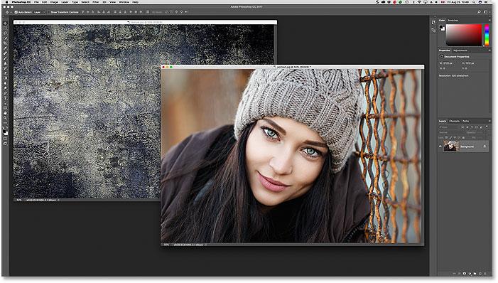 La vista de las ventanas de documento flotantes en Photoshop.