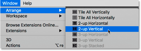 Selecting the 2-up Vertical layout in Photoshop.