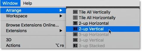 Sélectionner la disposition 2-up Vertical dans Photoshop.