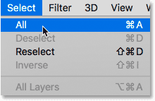 Choosing the Select All command in Photoshop.
