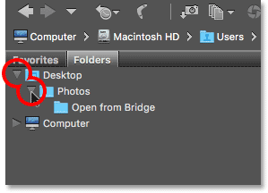 Clicking the triangles to navigate through the folder structure in Bridge.