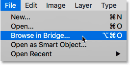 Choosing the Browse in Bridge command from the File menu in Photoshop.