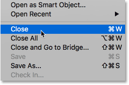 The selected image from Bridge opens in Photoshop.