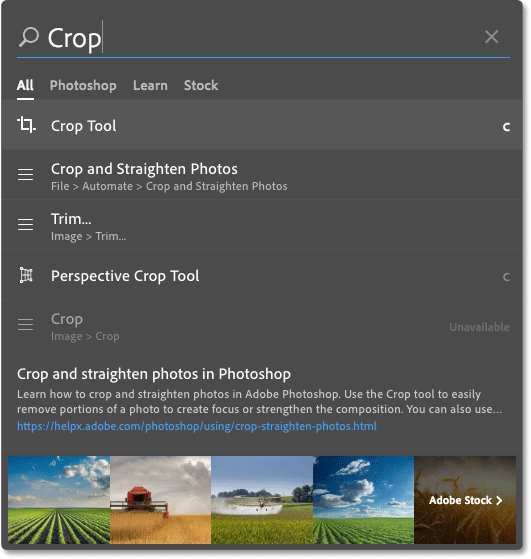 The new Search feature in Photoshop CC.