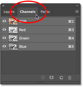 Opening the Channels panel in the panel group in Photoshop.