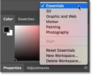 Switching between workspaces in Photoshop.