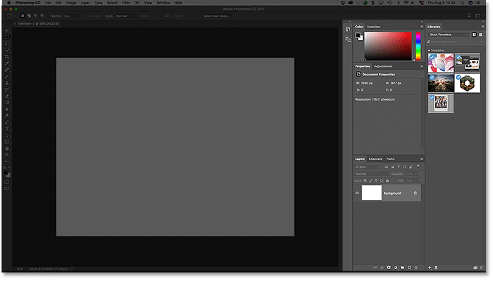 The panel area along the right of the Photoshop CC interface.